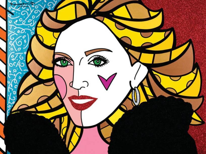 A cantora Madonna em retrato de Romero Britto