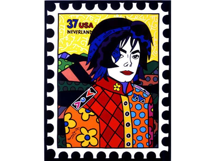 O cantor Michael Jackson em retrato feito por Romero Britto