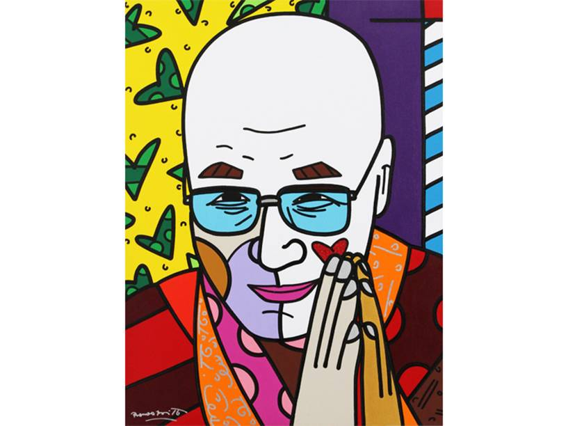 Dalai Lama em paz com retrato de Romero Britto