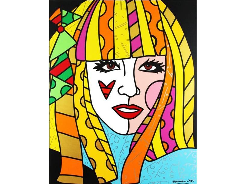 Nem os figurinos ousados de Lady Gaga chegam aos pés do retrato com os traços de Romero Britto