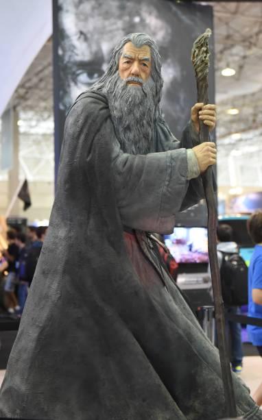 Réplica do personagem Gandalf, de O Senhor dos Anéis, é exposta durante a Comic Con Experience 2014, em São Paulo