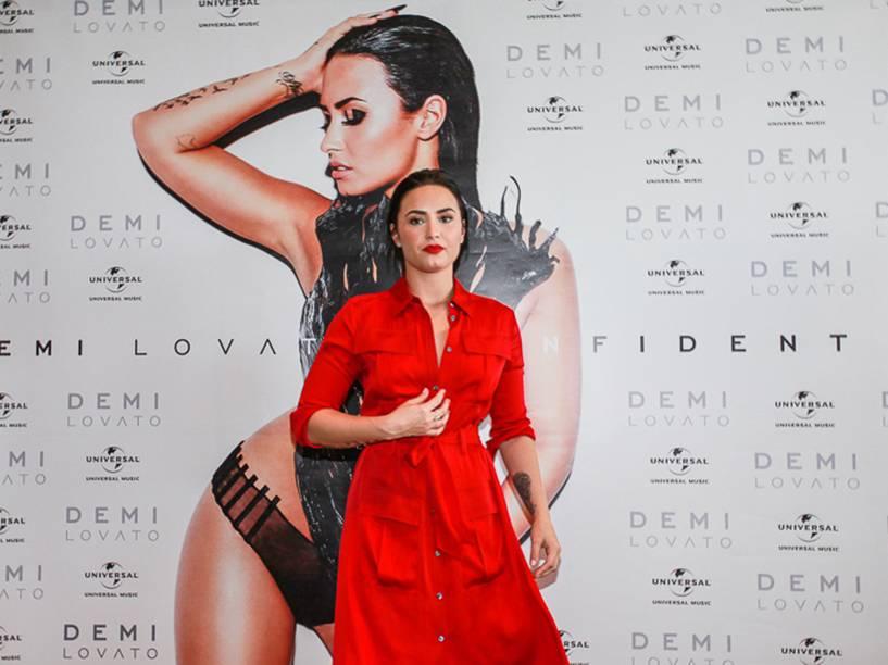 Demi Lovato durante lançamento do disco Confident em São Paulo - 21/10/2015