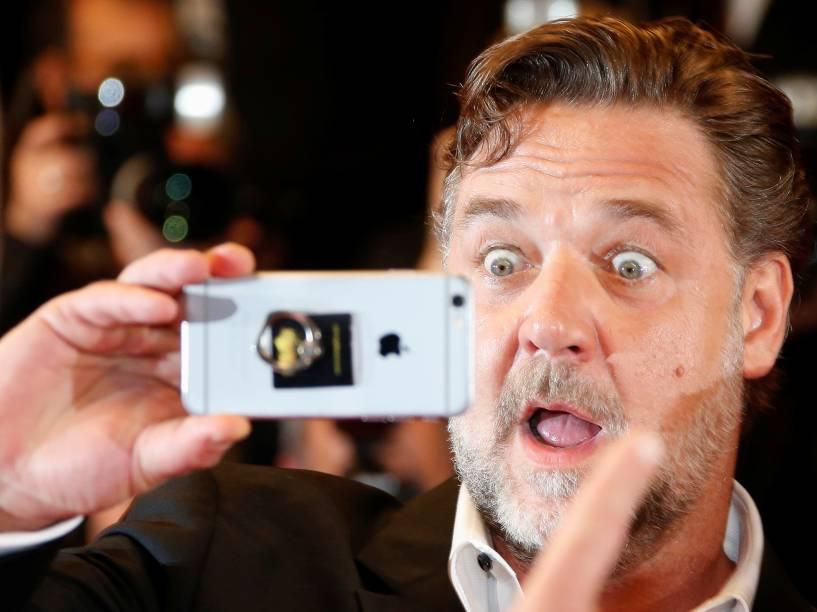 Ator Russell Crowe, chega ao Festival Internacional de Cinema de Cannes, na França, para a exibição do filme The Nice Guys- 15/05/2016