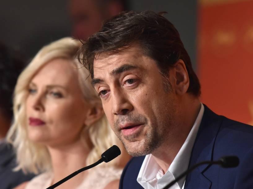 """Ator Javier Bardem fala em coletiva de imprensa do fillme """"The Last Face"""" no 69° Festival de Cannes - 20/05/2016"""