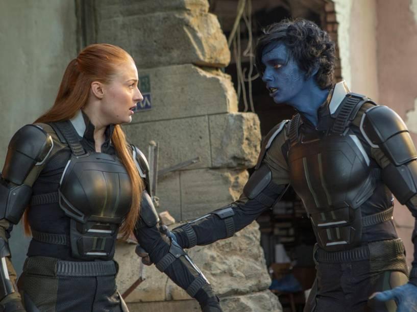 Noturno (Kodi Smit-McPhee) e Jean Grey (Sophie Turner), em cena do filme X-Men: Apocalipse