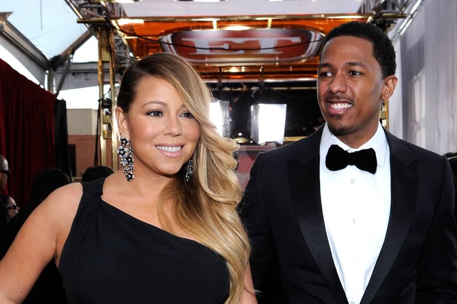 Mariah Carey e Nick Cannon na chegada para a premição do Annual Screen Actors Guild Awards em Los Angeles na Califórnia