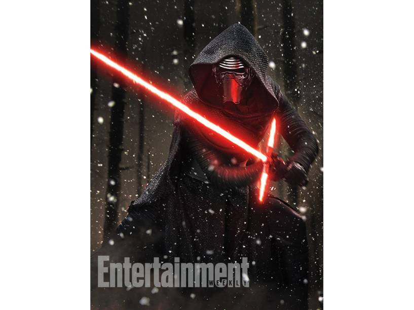 Kylo Ren (Adam Driver), o vilão do novo Star Wars, mostra seus movimentos com o sabre de luz
