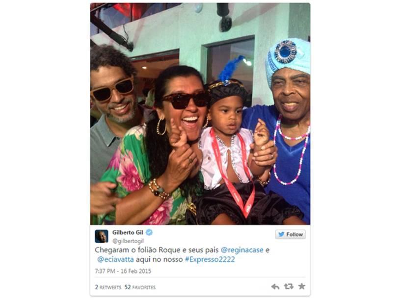 A apresentadora Regina Casé aparece em postagem de Gilberto Gil