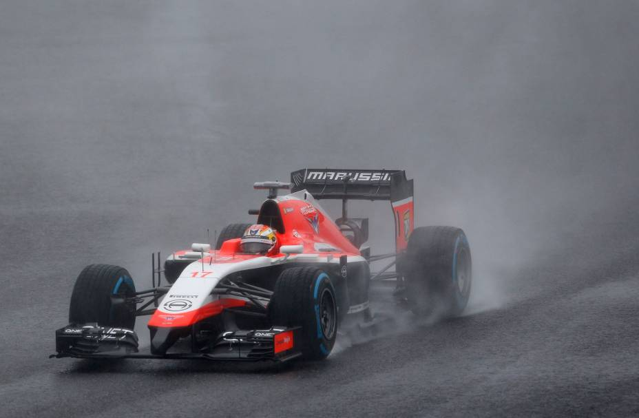 O carro do piloto Jules Bianchi, da França, minutos antes do acidente no GP do Japão