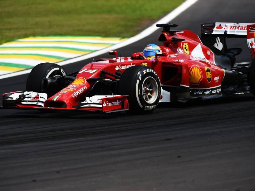 Fernando Alonso da Ferrari no GP Brasil de Fórmula 1