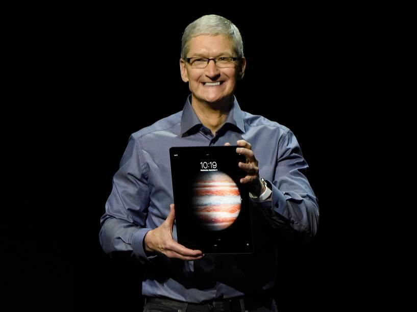 Tim Cook durante a apresentação do novo iPad em São Francisco, na Califórnia