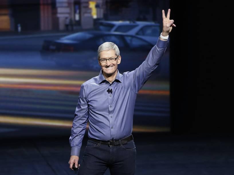 O atual CEO da Apple, Tim Cook no lançamento do iPhone 6S e 6S Plus em São Francisco, California