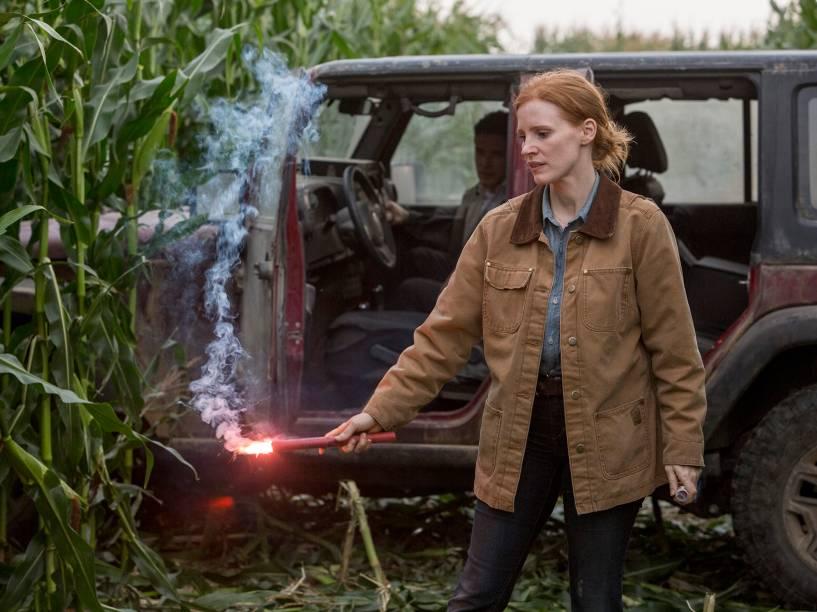 <p>A personagem Murph (Jessica Chastain), em cena do filma interestelar</p>