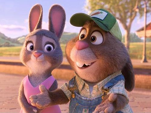 Bonnie e Stu Hopps, pais da coelhinha Judy, em cena do novo filme da Disney, Zootopia