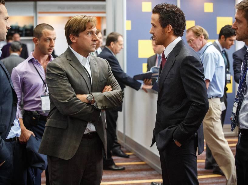 Mark Baum (Steve Carell) e Jared Vennett (Ryan Gosling) vivem dois corretores em 'A Grande Aposta'