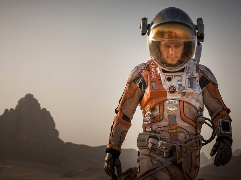 """O filme """"Perdido em Marte"""", com Matt Damon no papel de astronauta deixado sozinho em Marte pelos companheiros após incidente com missão espacial da Nasa"""