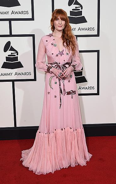 Florence Welch durante a 58ª edição do Grammy, premiação que elege os melhores da música internacional, que acontece nesta segunda-feira (15)