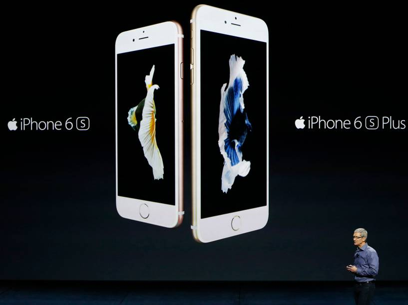 O atual CEO da Apple, Tim Cook no lançamento do iPhone 6S e 6S Plus em São Francisco, na Califórnia