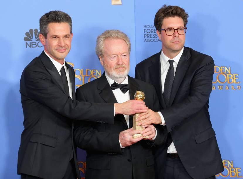 Ridley Scott (centro) venceu a categoria melhor filme de comédia ou musical