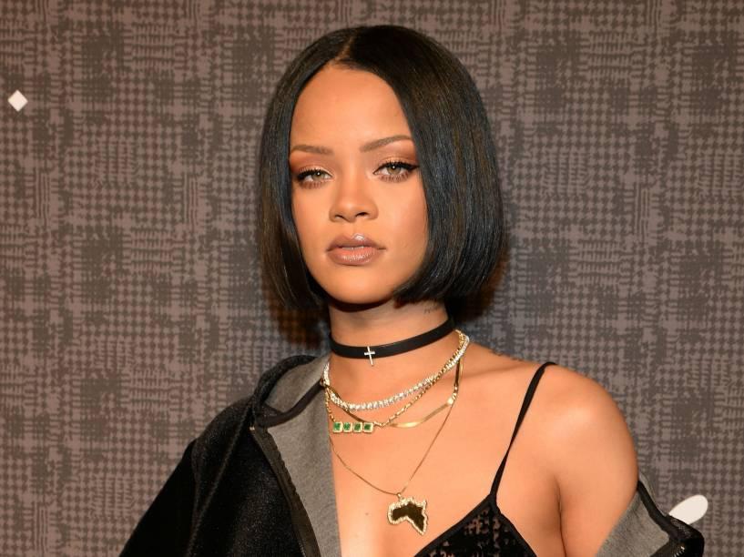 Rihanna em fevereiro de 2016, no lançamento de sua coleção com a Puma