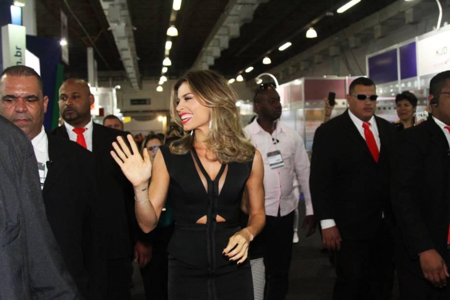 Grazi Massafera chega ao evento da Beauty Fair em São Paulo (SP)