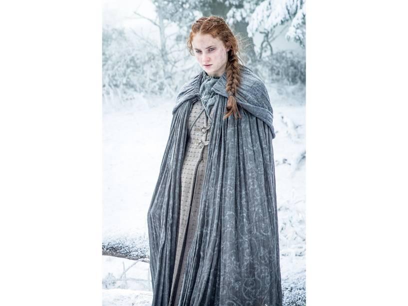 Sophie Turner (Sansa Stark), em cena da sexta temporada da série Game of Thrones