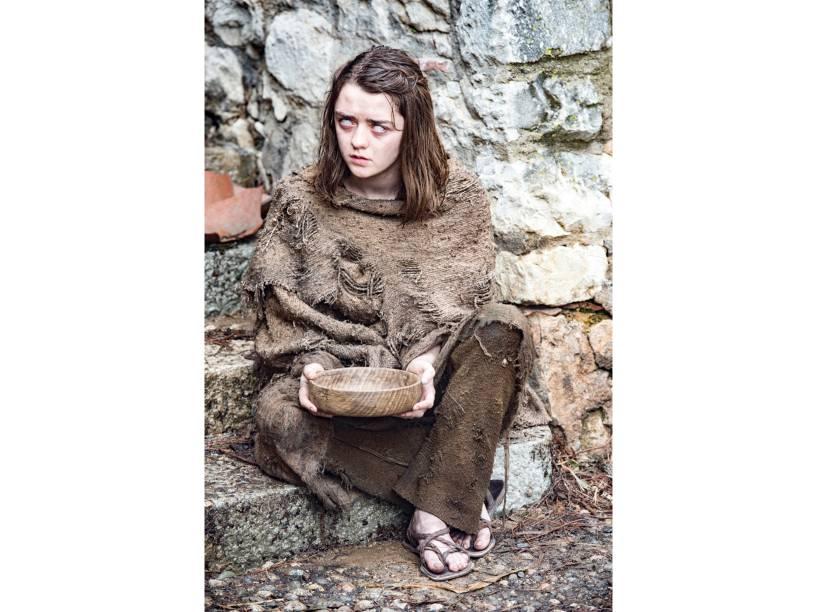 Maisie Williams (Arya Stark), em cena da sexta temporada de Game of Thrones