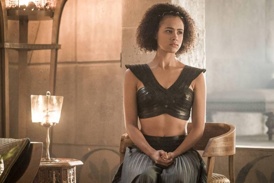 Nathalie Emmanuel (Missandei), em cena da sexta temporada da série Game of Thrones