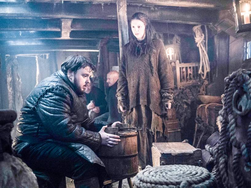 John Bradley-West (Samwell Tarly) e Hannah Murray (Gilly), em cena da sexta temporada da série Game of Thrones