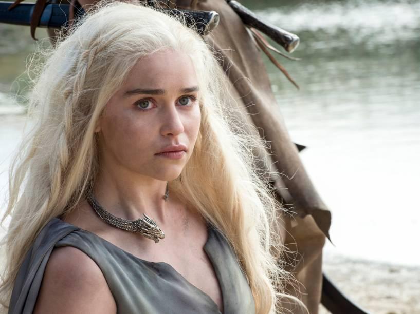 Emilia Clarke (Daenerys Targaryen), em cena da sexta temporada da série Game of Thrones