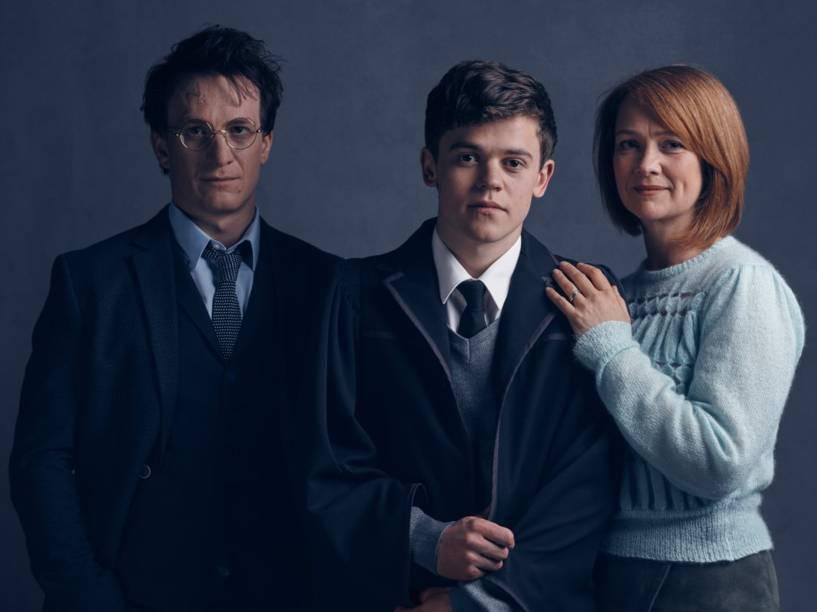 Jamie Parker (Harry), Sam Clemmett (Alvo) e Poppy Miller (Gina)