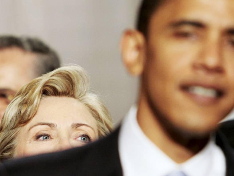 Hillary Clinton e Barack Obama durante congresso no Capitólio dos EUA, em Washington - 23/01/2007