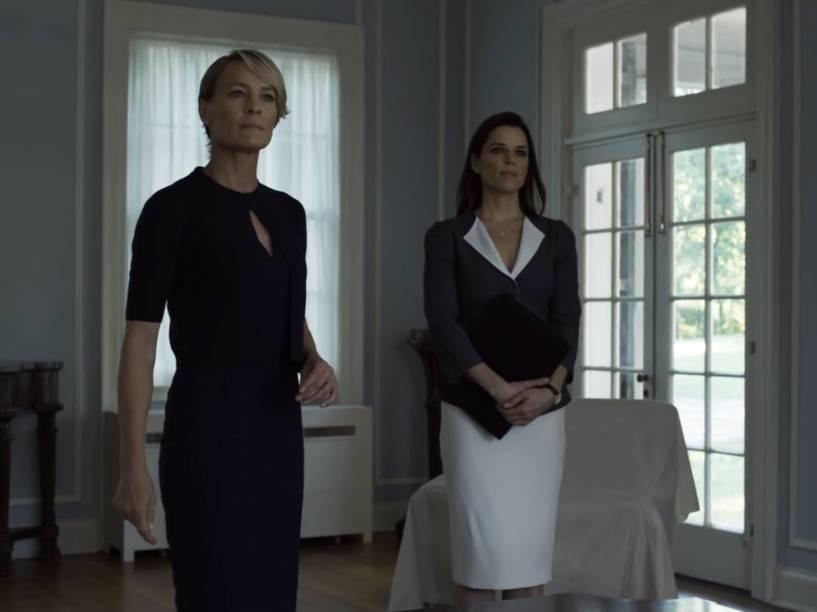 Claire Underwood (Robin Wright) em cena da quarta temporada da série produzida pelo Netflix, House of Cards