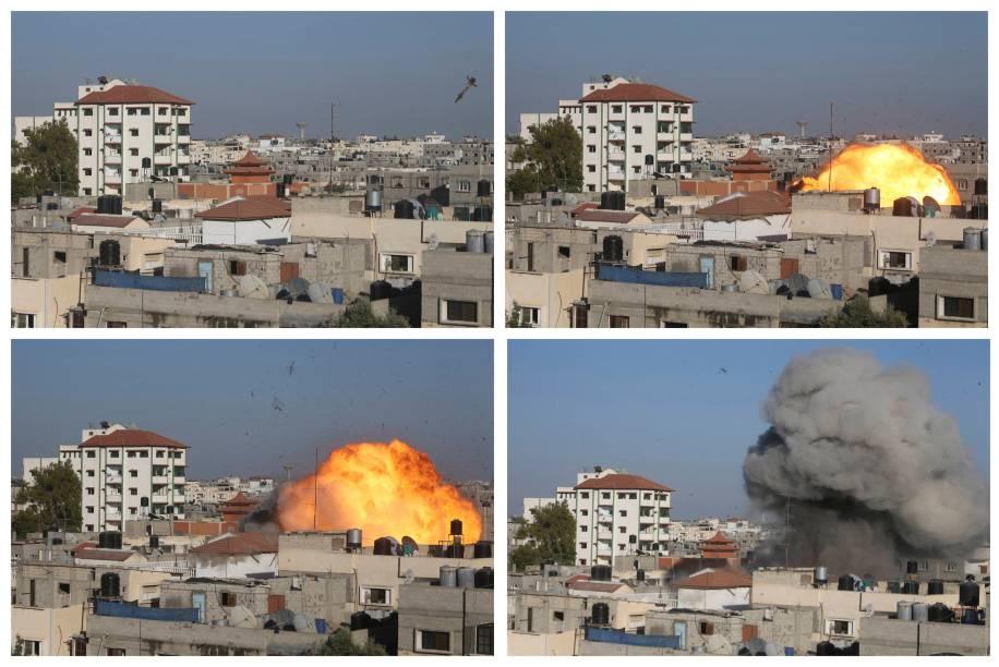 Sequência de fotos mostra míssil israelense logo antes de atingir a casa de Nafez Azzam, um líder sênior da Jihad Islâmica, em Rafah, no sul da Faixa de Gaza
