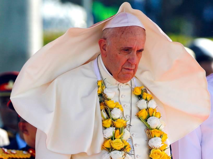 Papa Francisco durante cerimônia de boas-vindas no aeroporto de Colombo, no Sri Lanka