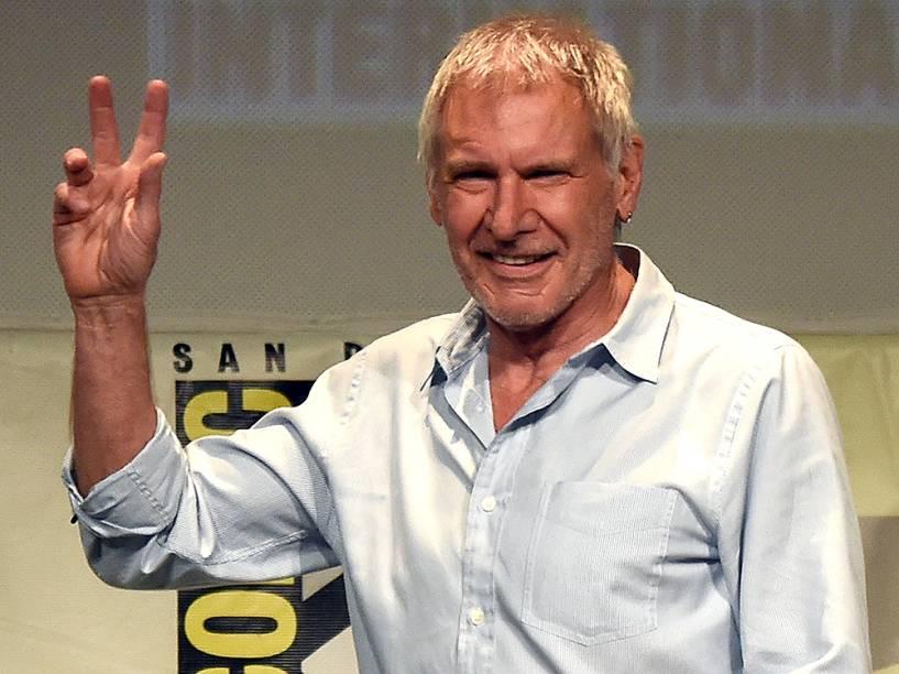 Harrison Ford no painel de Star Wars, na Comic-Con 2015