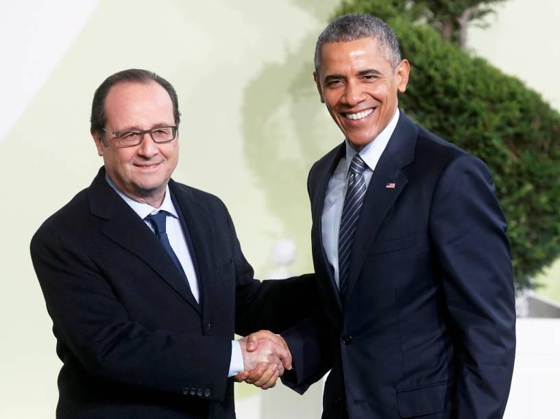 <p>O presidente da França, François Hollande e o presidente dos EUA, Barack Obama, se reúnem em Paris para a cúpula do clima, a COP21 - 30/11/2015</p>