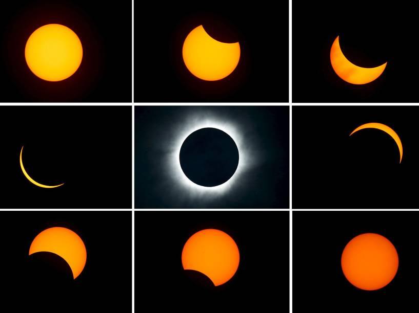 <p>Combinação de fotos mostra eclipse solar a partir da cidade de Ternate, na Indonésia, nesta quarta-feira (09)</p>