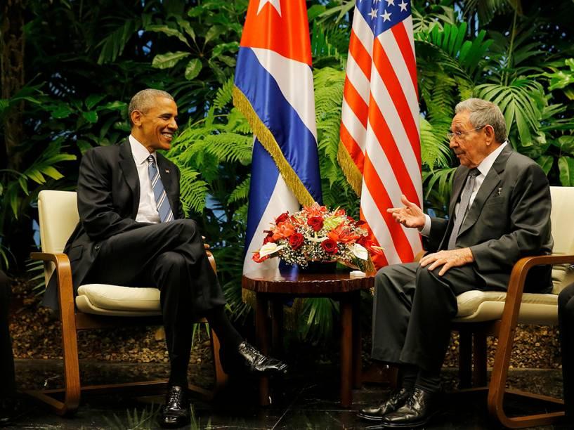 Obama durante encontro com Raúl Castro em Cuba, em 21/03/2016