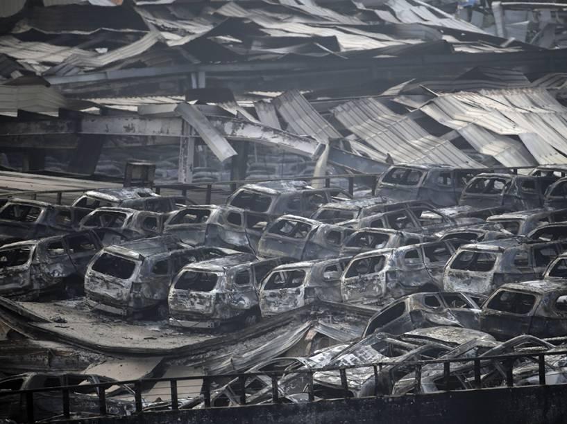 Local da explosão que deixou dezenas de mortos na cidade portuária de Tianjin, na China - 13/08/2015
