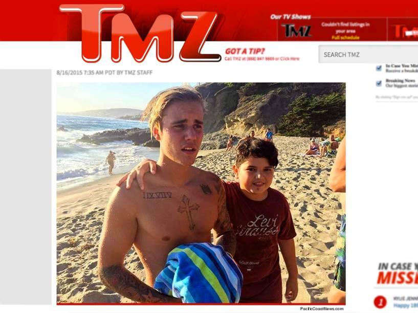 <p>Justin Bieber na praia</p>