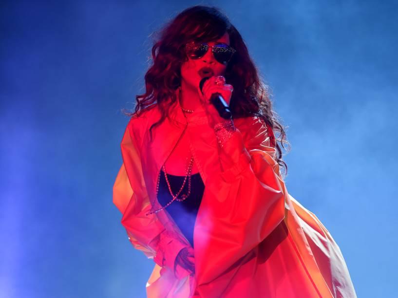 Apresentação da cantora Rihanna no penúltimo dia de Rock in Rio, na Cidade do Rock