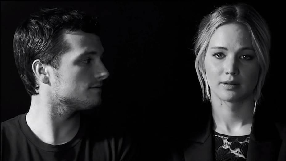 Josh Hutcherson e Jennifer Lawrence em vídeo gravado para campanha em prol do combate ao ebola