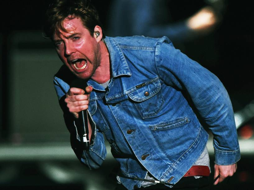 Ricky Wilson, vocalista da banda Kaiser Chiefs, durante apresentação no Morumbi em São Paulo