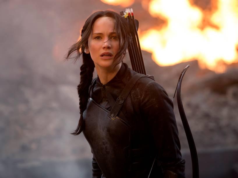 Protagonista, personagem Katniss, em cena do filme Jogos Vorazes: A Esperança - Parte I