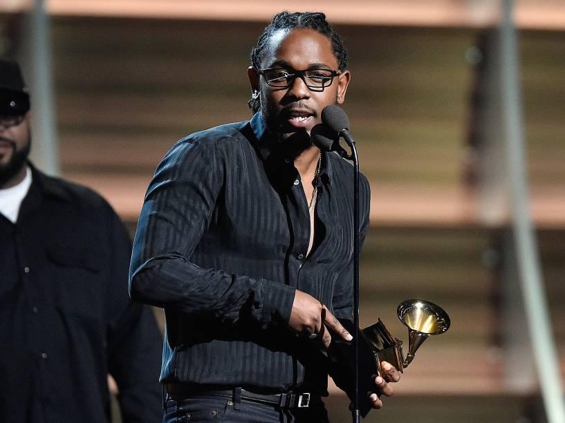 Kendrick Lamar durante a 58ª edição do Grammy, premiação que elege os melhores da música internacional, que acontece nesta segunda-feira (15)