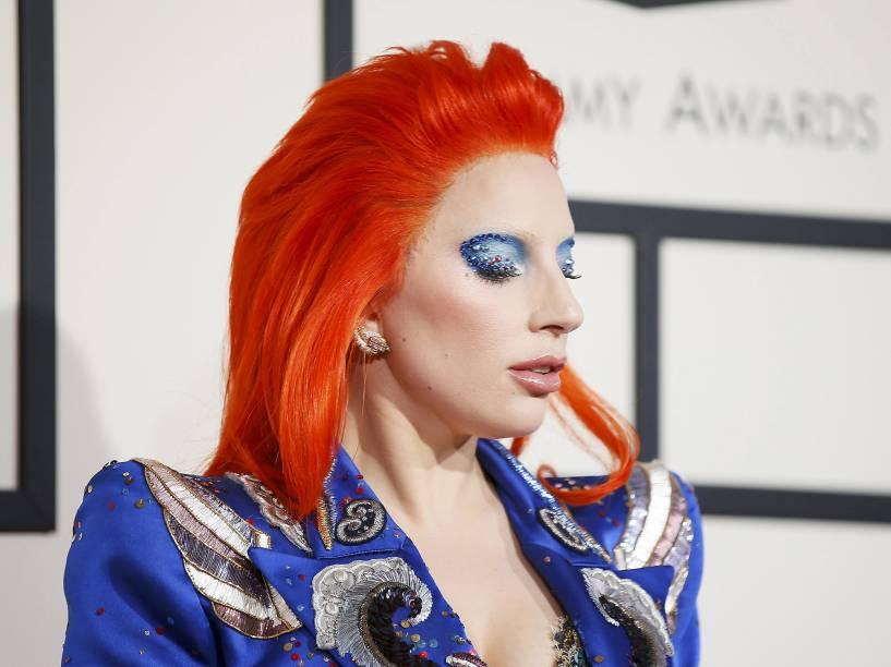 Lady Gaga durante a 58ª edição do Grammy, premiação que elege os melhores da música internacional, que acontece nesta segunda-feira (15)
