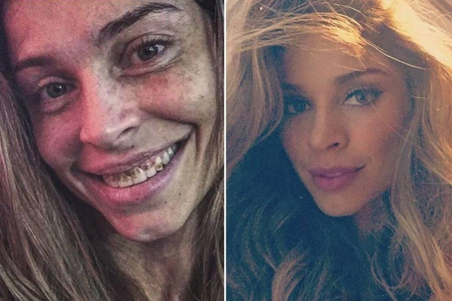 Grazi Massafera publica fotos com e sem a maquiagem utilizada para viver a personagem Larissa, de Verdades Secretas
