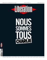 O jornal francês Libération estampou a frase Somos todos Charlie na capa desta quinta-feira