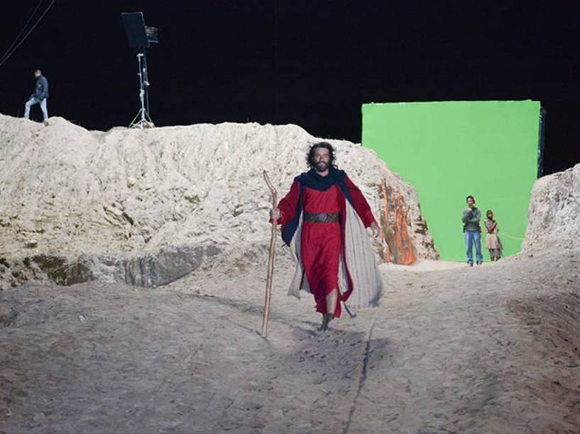Gravação da cena do Mar Vermelho na novela Os Dez Mandamentos